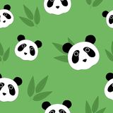 Seamless pattern with pandas and leaves of a bamboo. Royalty Free Stock Photo