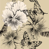 Seamless pattern with pansies and butterflies. Vec Stock Photography