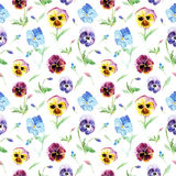 Seamless pattern with pansy flowers. Floral seamless pattern.Pansy flowers.Watercolor hand drawn illustration.Violets on a white background Stock Photo