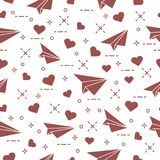 Seamless pattern with paper airplane and hearts. Cute seamless pattern with paper airplane and hearts. Template for design, fabric, print. Valentine\'s Day Stock Photo