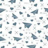 Seamless pattern with paper airplane and hearts. Cute seamless pattern with paper airplane and hearts. Template for design, fabric, print. Valentine\'s Day Stock Image