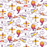 Seamless pattern with paper airplanes in clouds. Vector illustration royalty free illustration