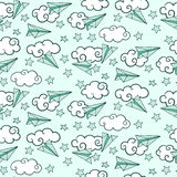 Seamless pattern with paper airplanes in clouds. Vector illustration stock illustration
