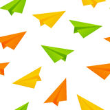 Seamless pattern with paper airplanes Stock Photo