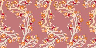 Paper art trees vintage pattern Royalty Free Stock Images