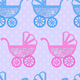 Seamless pattern with paper baby prams. Royalty Free Stock Photos