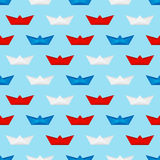 Seamless pattern with paper boats Stock Image
