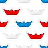 Seamless pattern with paper boats Royalty Free Stock Image