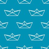 Seamless pattern with paper boats. Vector Royalty Free Stock Photos
