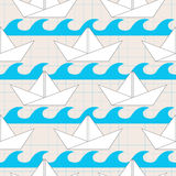 Seamless pattern with paper boats on the waves Royalty Free Stock Photography