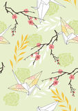 Seamless Pattern with Paper Cranes Stock Photography