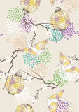 Seamless Pattern with Paper Cranes and Lanterns Royalty Free Stock Photo