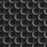 Seamless pattern with paper cut 3D black circles.  Stock Photo
