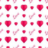 Seamless pattern of paper hearts and text.Papercut. February 14. Love. Seamless pattern of paper hearts and text. Idea for your design on the Valentine`s Day Royalty Free Stock Photos