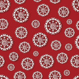 Seamless pattern with paper snowflakes. On a red background vector illustration
