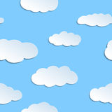 Seamless pattern with papercraft clouds. Royalty Free Stock Photography