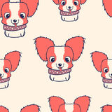 Seamless pattern with papillon puppies. Colorful vector illustration Stock Photography