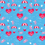 Seamless pattern with parachute, balloon, angel, heart, bird, ar Stock Images