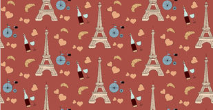 Seamless pattern with paris elements, eiffel tower bottle of wine heart and bicycle Royalty Free Stock Photography