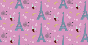 Seamless pattern with paris elements, eiffel tower bottle of wine heart and bicycle Royalty Free Stock Image