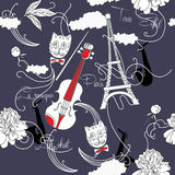 Seamless pattern with  Paris, flowers and music-02 Stock Image