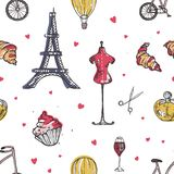 Seamless pattern with Paris and France elements - perfume, french croissant, Eiffel Tower, mannequin, glass of wine hand royalty free illustration