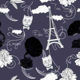 Seamless pattern with  Paris and music Stock Photo