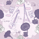 Seamless pattern with  Paris and music Stock Images