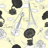 Seamless pattern with  Paris and music Stock Photos