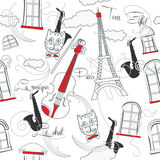 Seamless pattern with  Paris, music and saxophone-03 Royalty Free Stock Photography