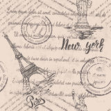 Seamless pattern with Paris and New york Stock Photography
