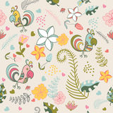Seamless pattern with parrots and tropical plants on a beige bac Royalty Free Stock Photo