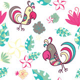 Seamless pattern with parrots and tropical plants on a white bac Stock Image