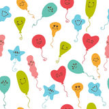 Seamless pattern with party balloons of different colors. Stock Image