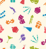 Seamless Pattern of Party Objects, Wallpaper for Holidays Stock Photos