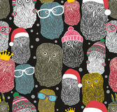 Seamless pattern with party of owls Stock Image