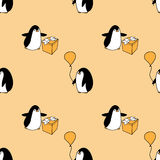 Seamless pattern with party penguins Stock Photo