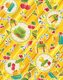 Seamless pattern with party supplies. For textiles, book design, website background, gift packaging Stock Photos