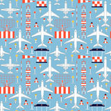 Seamless pattern with passenger airplanes and aerodrome faciliti Stock Photos