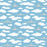 Seamless pattern with passenger airplanes number five royalty free illustration