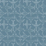 Seamless pattern with passenger airplanes number one Royalty Free Stock Images
