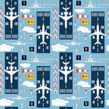 Seamless pattern with passenger airplanes number six Stock Photography