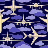 Seamless pattern with passenger airplanes number two Royalty Free Stock Images