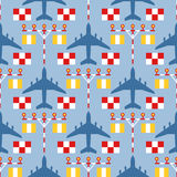 Seamless pattern with passenger airplanes, strip lights and signs Royalty Free Stock Photo