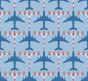 Seamless pattern with passenger airplanes and strip lights Stock Photos