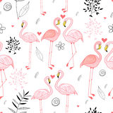 Seamless pattern with a passionate pink flamingos Royalty Free Stock Image