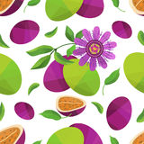 Seamless pattern passionfruit and flower Stock Images