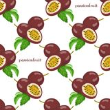 Seamless pattern with passionfruits Stock Photos