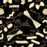 Seamless pattern with pasta stock photography
