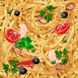 Seamless pattern with pasta. Endless background with spaghetti. Vector illustration. royalty free illustration